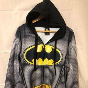 BATMAN Adult Black FULL ZIP long sleeve L hoodie,